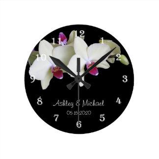 Reloj de pared del boda -- Flor personalizada de l