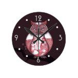 Reloj de pared del búho del sauce rojo
