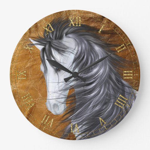 Reloj de pared del caballo blanco
