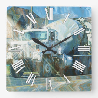 Reloj de pared del camión del cemento blanco
