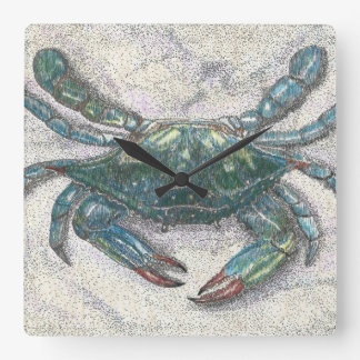 Reloj de pared del cangrejo azul de la bahía de