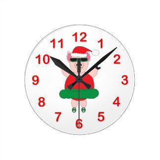 Reloj de pared del cerdo del ballet del navidad