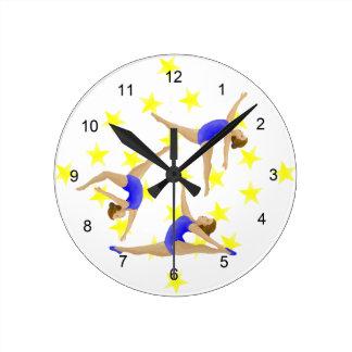 Reloj de pared del chica del gimnasta