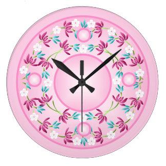 Reloj de pared del círculo de la flor del rosa col