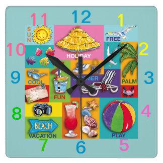 Reloj de pared del collage del tiempo de la playa