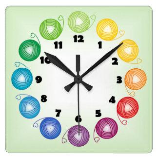 Reloj de pared del cuadrado de la bola del hilado