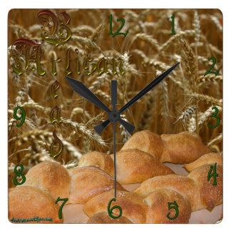 Reloj de pared del cuadrado del artesano del pan