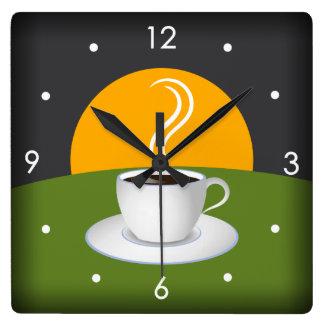Reloj de pared del cuadrado del café de la taza de
