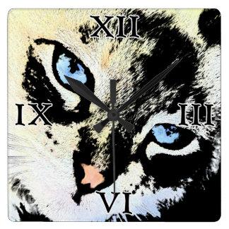 Reloj de pared del cuadrado del gato de la tinta