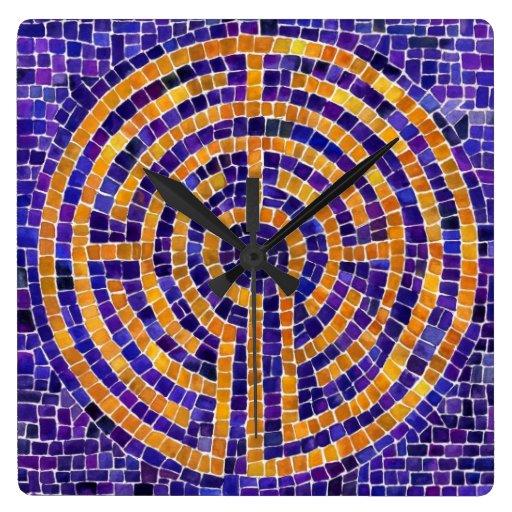 Reloj de pared del cuadrado del mosaico de