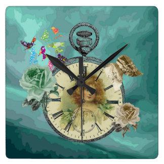 Reloj de pared del cuadrado del reloj de reloj del