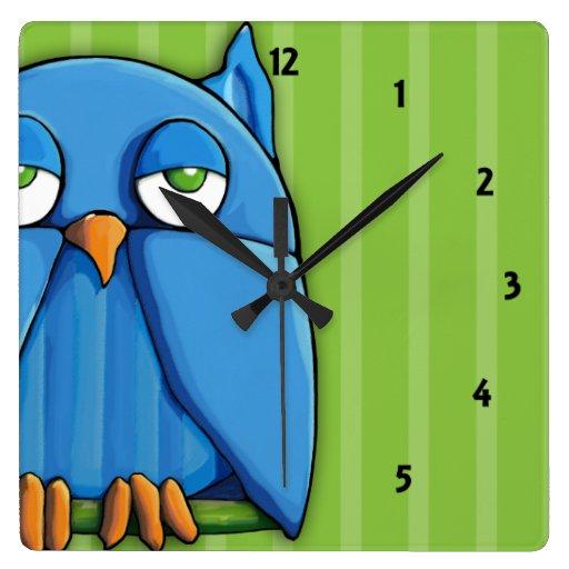 Reloj de pared del cuadrado del verde del búho de