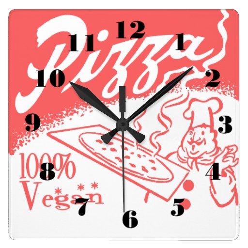 Reloj de pared del cuadrado del vintage de la pizz
