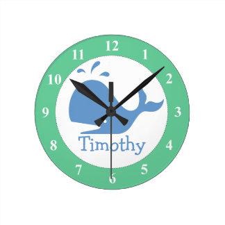 Reloj de pared del cuarto de niños con nombre de