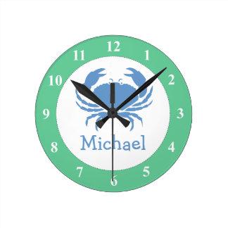 Reloj de pared del cuarto de niños con nombre del