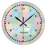 Reloj de pared del cuarto de niños del gatito del