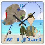 Reloj de pared del día de padre de la pesca