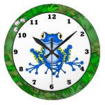 Reloj de pared del dibujo animado de la rana de la
