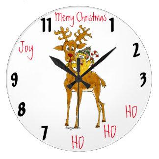 Reloj de pared del dibujo animado del reno de las
