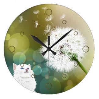 Reloj de pared del diente de león y del gato