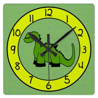 Reloj de pared del dinosaurio verde para los niños