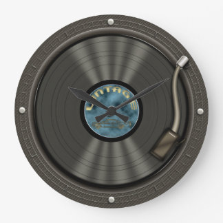 Reloj de pared del disco de vinilo del vintage