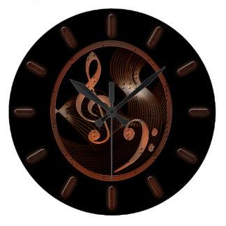 Reloj de pared del diseño de la música de Steampun
