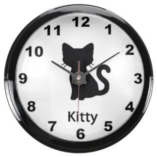 "Reloj de pared del diseño del ""gatito"" reloj acuario"
