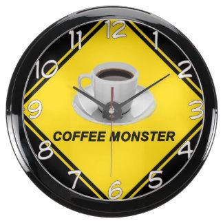 """""""Reloj de pared del diseño del monstruo del café"""" Reloj Aqua Clock"""