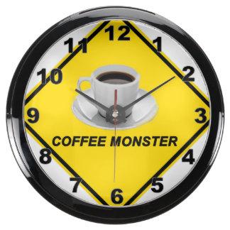 """""""Reloj de pared del diseño del monstruo del café"""" Relojes Aquavista"""