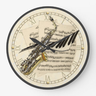 Reloj de pared del diseño del saxofón y de la músi