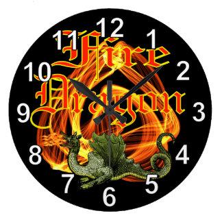 Reloj de pared del dragón del fuego