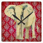 Reloj de pared del elefante blanco