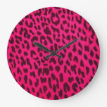 Reloj de pared del estampado leopardo de las rosas