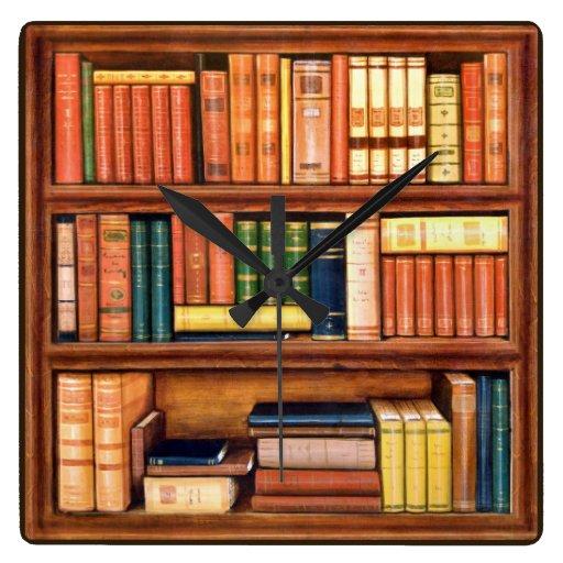 Reloj de pared del estante de la biblioteca de los