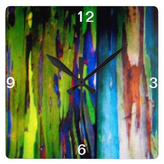Reloj de pared del eucalipto del arco iris