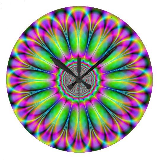 Reloj de pared del fractal 3 de la flor