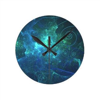 Reloj de pared del fractal de la llama de la aguam