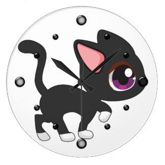 Reloj de pared del gatito de Kawaii