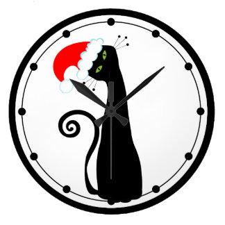 Reloj de pared del gato de Santa
