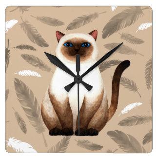 Reloj de pared del gato de Tailandia