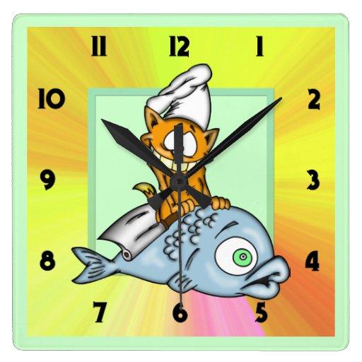 Reloj de pared del gato del dibujo animado