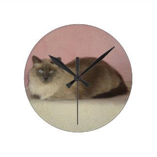 Reloj de pared del gato siamés