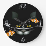 Reloj de pared del gato y del Goldfish