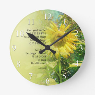 Reloj de pared del girasol del rezo de la serenida