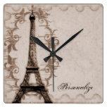 Reloj de pared del Grunge de Latte París