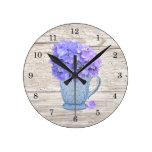 Reloj de pared del Hydrangea del país