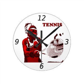 Reloj de pared del jugador de tenis