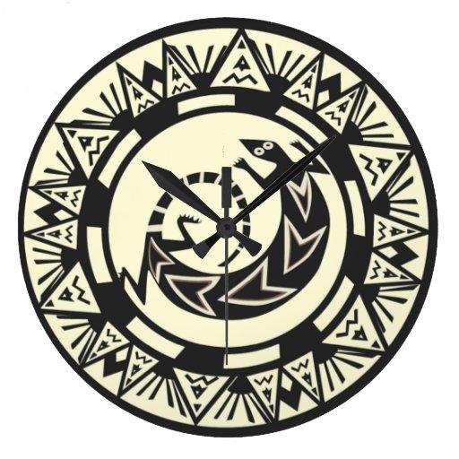Reloj de pared del lagarto del nativo americano