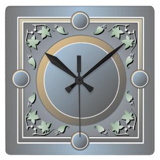 Reloj de pared del marco de la hoja del verde del